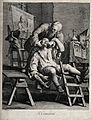 A flamboyant travelling dentist extracting a tooth from an a Wellcome V0012020.jpg