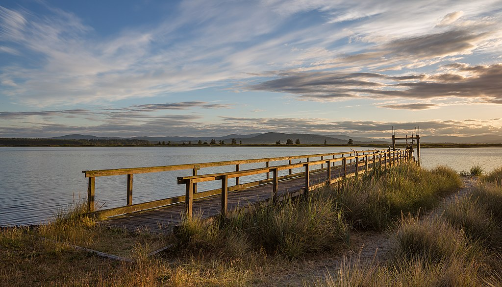 A pier at a campsite during sunset, Sidney Spit (part of Gulf Islands National Park Reserve), Sidney Island, British Columbia, Canada 20.jpg