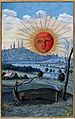 A red-faced sun rises above a city; stunted trees stand in t Wellcome V0025642.jpg