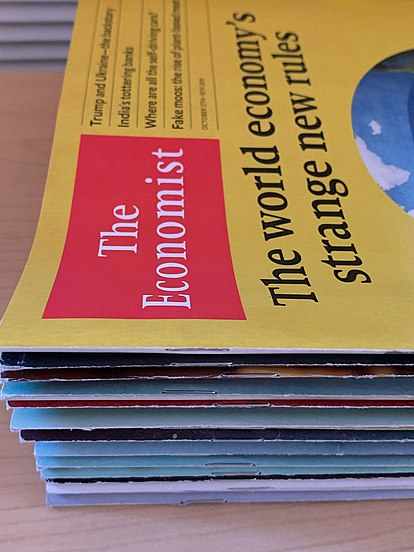 A stack of Economist papers, ordered by publication date, 2020. A stack of Economist papers.jpg