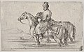 A valet taking two horses to bathe, sitting atop one horse in a river, the other beside him to right MET DP831101.jpg