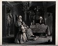 A young girl kneels on the floor by an old man holding a boo Wellcome V0038779.jpg