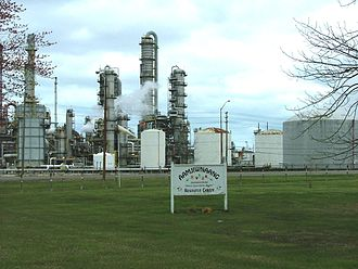 Environmental impact of the chemical industry in Sarnia - Aamjiwnaang Resource Centre adjoining Dow Chemical in Chemical Valley, specifically INEOS Styrolution (formerly Nova)