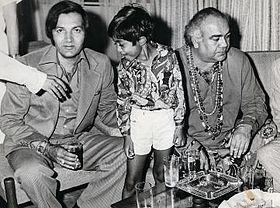 Abhishek with actors Prem Chopra and Premnath - 1974.JPG