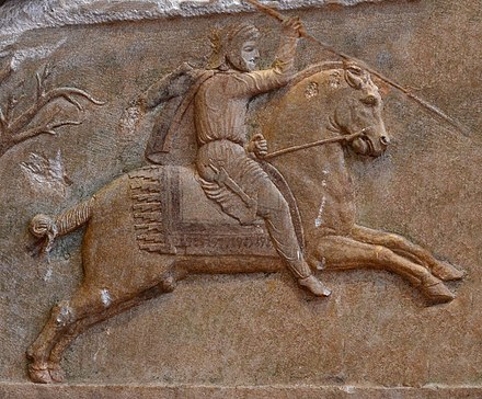 Achaemenid calvalryman in the satrapy of Hellespontine Phrygia, Altikulac Sarcophagus, early 4th century BC. Achaemenid cavalry in Asia Minor.jpg