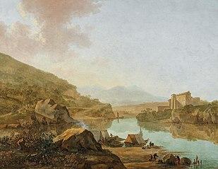 An extensive Italianate river landscape