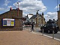 Addlestone station level crossing look north closed.JPG