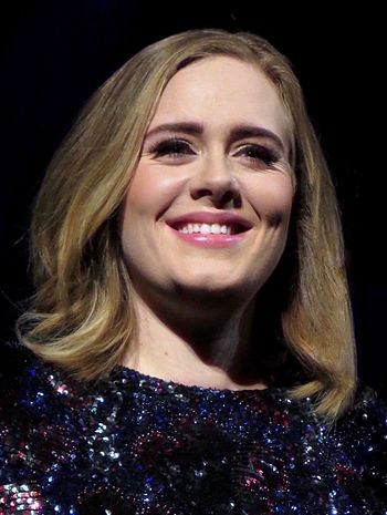 Two-time winner Adele won in 2012 and 2017 Adele 2016.jpg