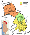 Administrative divisions of Kukës County, Albania in Hungarian.png