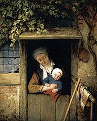 Mother Holding her Child in a Doorway