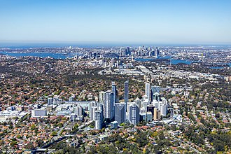 Chatswood commercial district. Aerial View Chatswood to Sydney CBD.jpg