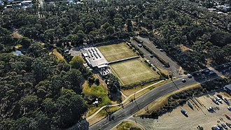 Torquay, Victoria - Aerial perspective of Torquay Bowls Club. March 2019