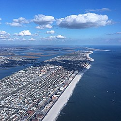Aerial photograph of Long Beach, NY and environs from west-by-southwest.