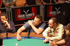 Ben Affleck playing poker at the annual Ante U...
