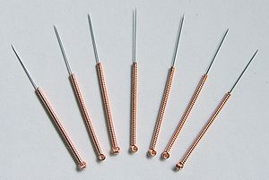 Acupuncture needles.