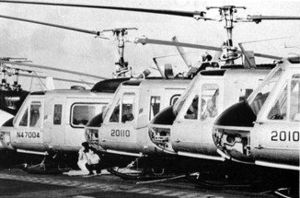 Air America (airline) - Air America Bell 205s being evacuated aboard USS ''Hancock'', in 1975.