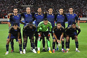 Al Ahly players pose for a photo before a match in 2011