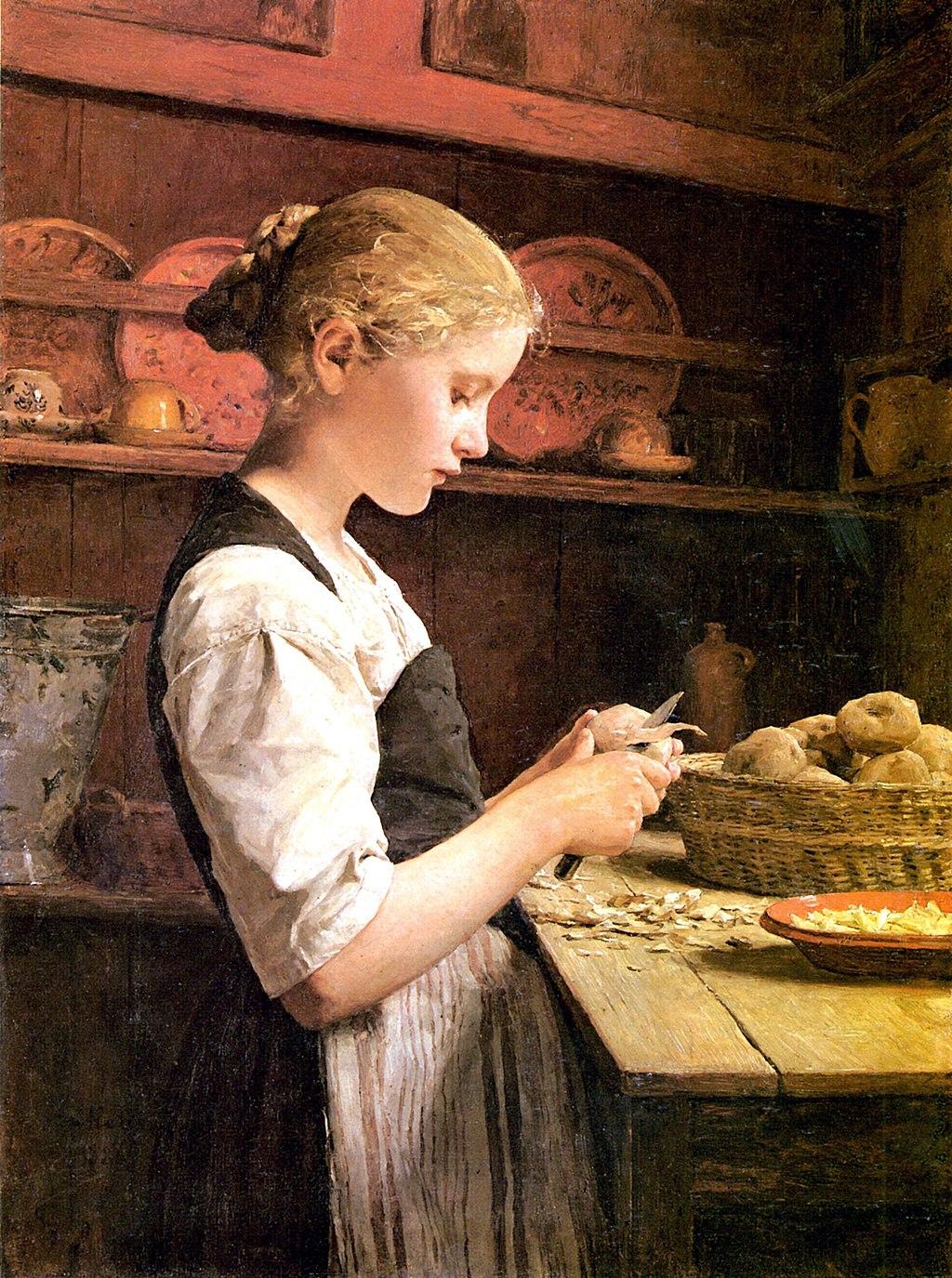 Albert Samuel Anker - Potato-Peeling Girl