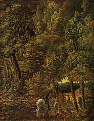 Countryside of Wood With Saint George Fighting the Dragon