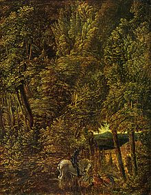 A painting of St George slaying the dragon set in a dense forest in which the figures are dwarfed by the trees. A distant landscape is seen through a break.