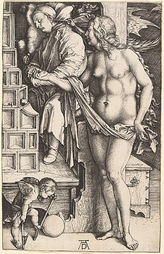 The Four Witches - Albrecht Dürer, The Dream of the Doctor, engraving, 1498-99. This engraving similarly associates a nude figure with diabolic activity