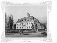 Schloss Lützschena in an early catalog, by 1860 (Source: Wikimedia)