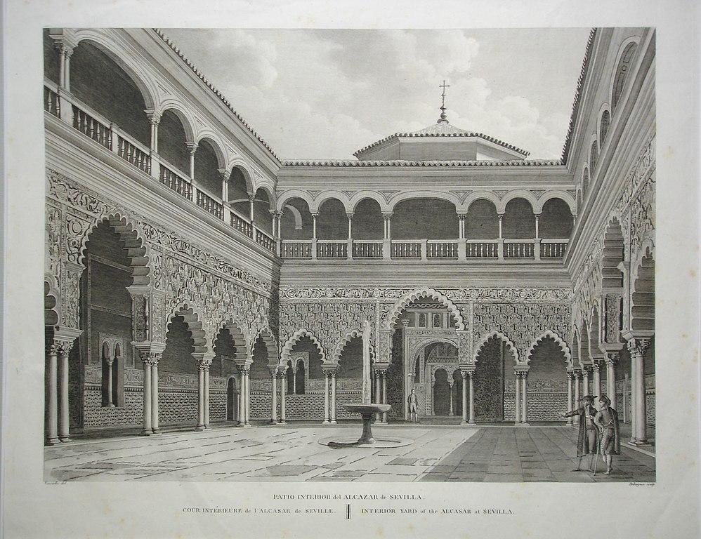 Dans le palais du Real Alcazar de Séville vers 1820.
