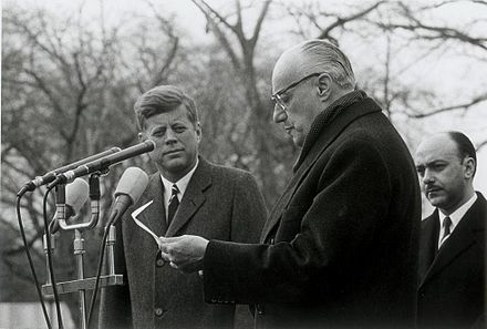 Kennedy with Chilean President Jorge Alessandri, on an official visit in December 1962 Alessandri-Kennedy(2).JPG