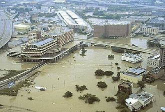 White Oak Bayou - White Oak and Buffalo Bayous at Main St. after Tropical Storm Allison, June 2001