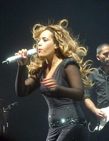 Amel Bent during a Olympia (Paris) concert in 2011 .