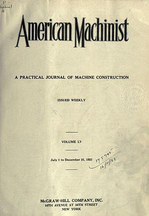 American Machinist - Image: American Machinist, 1921