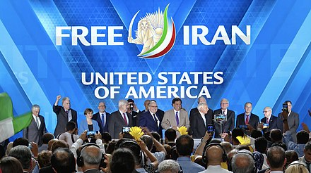 Rudy Giuliani, Newt Gingrich, James T. Conway, Bill Richardson and other American politicians at the MEK event in 2018 American politicians at the PMOI event 2018.jpg