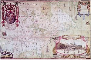 Jean-Baptiste-Louis Franquelin - 1688 Map of North America with a pictorial view of Quebec City by Franquelin