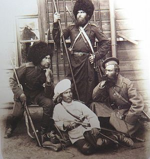 Amur Cossacks - Four Amur Cossacks, c. 1900.