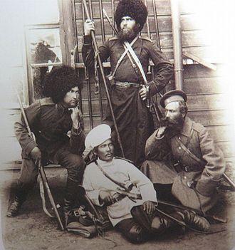 Amur Cossacks - Four Amur Cossacks, c. 1900.