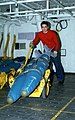 An aviation ordnanceman uses an Aero 12C bomb skid to move a pair of BDU-45-B 500-pound practice bombs in a weapons storage space aboard the nuclear-powered aircraft carrier USS DWI - DPLA - f025c2573cf98e4b9a94ea56418afa3c.jpeg