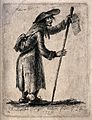 An old man with a bundle on his back, carrying a song sheet Wellcome V0039743.jpg