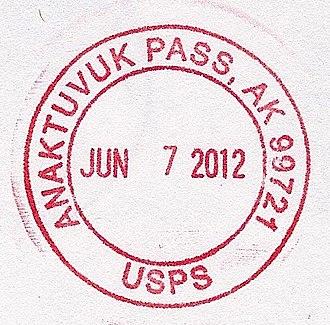 Anaktuvuk Pass, Alaska - Image: Anaktuvuk Pass AK Postmark 1