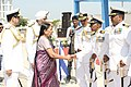 Anandiben Patel congratulating Commodore B.R. Prakash, during the commissioning ceremony of INS Sardar Patel, in Gujarat on May 09, 2015. The Chief of Naval Staff, Admiral R.K. Dhowan is also seen.jpg