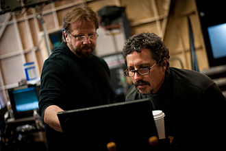 Rob Bowman (director) - Andrew Marlowe and Rob Bowman on the set of Castle.
