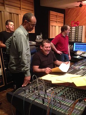Luis Bonilla - Luis Bonilla (seated) producing Mists: Charles Ives for Jazz Orchestra, April 2014