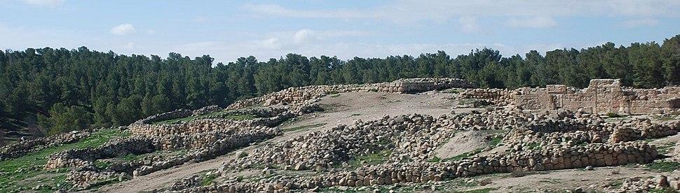 חורבת ענים - במרכז שרידי המגדל ומימין חזיתו המזרחית של בית הכנסת