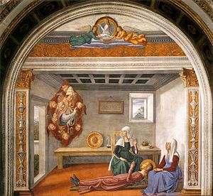 Domenico Ghirlandaio - Pope Gregory announces the death of Santa Fina, in the Collegiate Church of San Gimignano (about 1477)