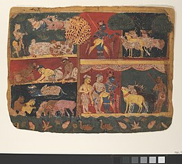 Krishna and the Cowherds: Page from a Dispersed Bhagavata Purana (Ancient Stories of Lord Vishnu)