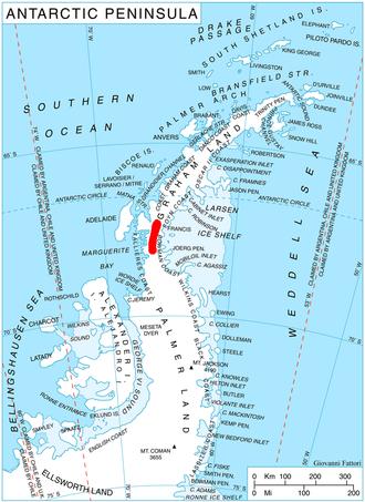 Ahlmann Glacier - Location of Hemimont Plateau on the Antarctic Peninsula.