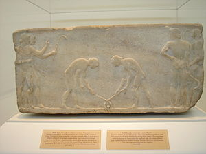 Hockey - bas relief approx. 600 BC, in the National Archaeological Museum of Athens