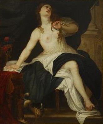 José Claudio Antolinez - Suicide of Cleopatra, oil on canvas, 137.5 cm x 115.5 cm, private collection.