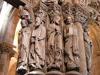 Santiago de Compostela Cathedral - Apostles of the jambs of the Pórtico da Gloria.