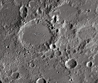 "Apianus (crater) - Apianus crater and its satellite craters taken from Earth in 2012 at the University of Hertfordshire's Bayfordbury Observatory with the telescopes Meade LX200 14"" and Lumenera Skynyx 2-1"