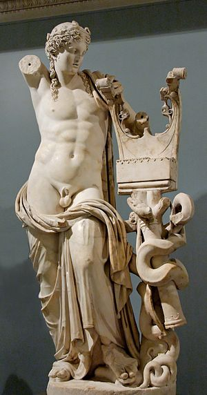 Cyrene, Libya - Apollo Kitharoidos from Cyrene. Roman statue from the 2nd century AD now in the British Museum.